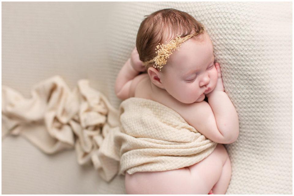 Baby pose with nude wrap | Iowa Newborn Photographer | CB Studio
