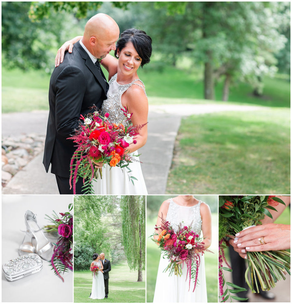 Bride and groom pose with pink and fuchsia fun florals with texture. Jewel encrusted dress and hand clutch | Iowa Wedding Photographer | CB Studio